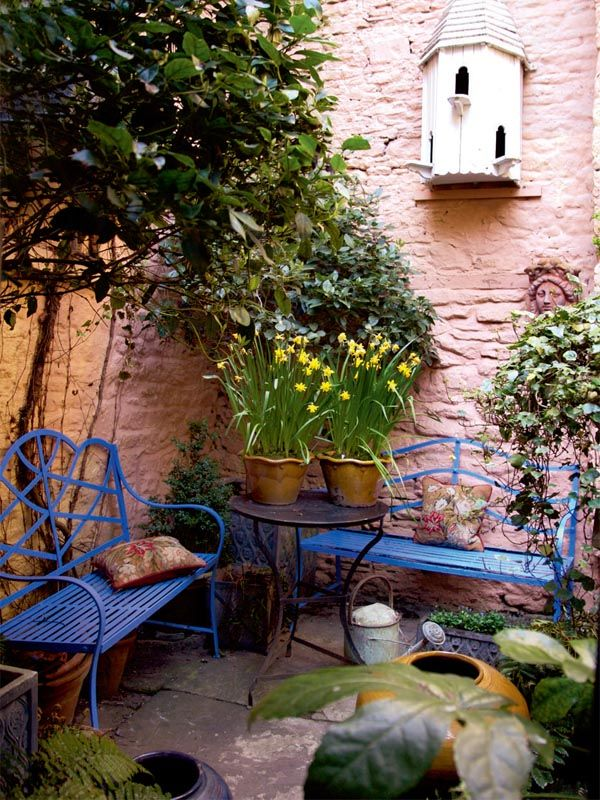 Garden in gloucestershire i love this cornflower blue for Small french courtyard gardens