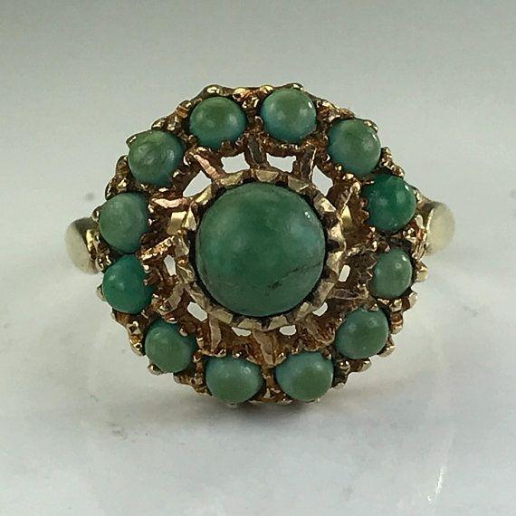 Vintage Turquoise Ring. Gold Flower Setting. #jewelry #ring @EtsyMktgTool #engagementring #ring #vintagering #artnouveau #decemberbirthstone