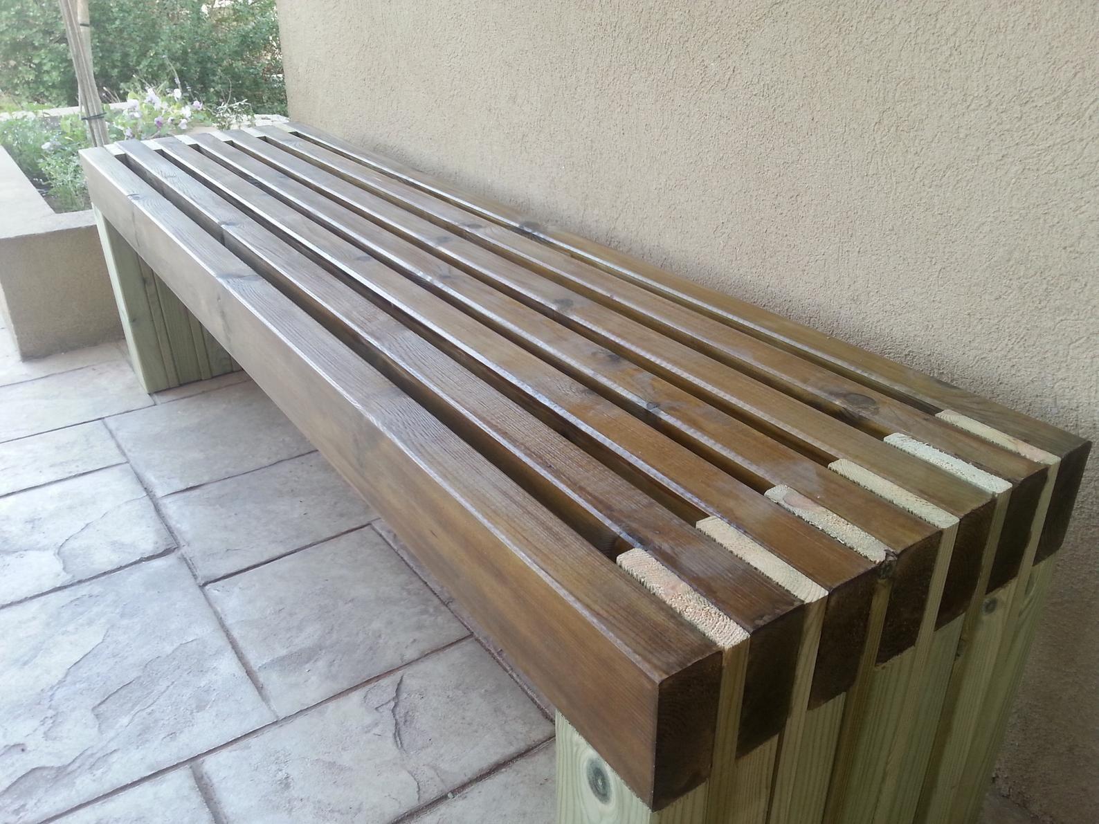 Simple Bench Plans Outdoor Furniture DIY 2x4 lumber Patio Furniture