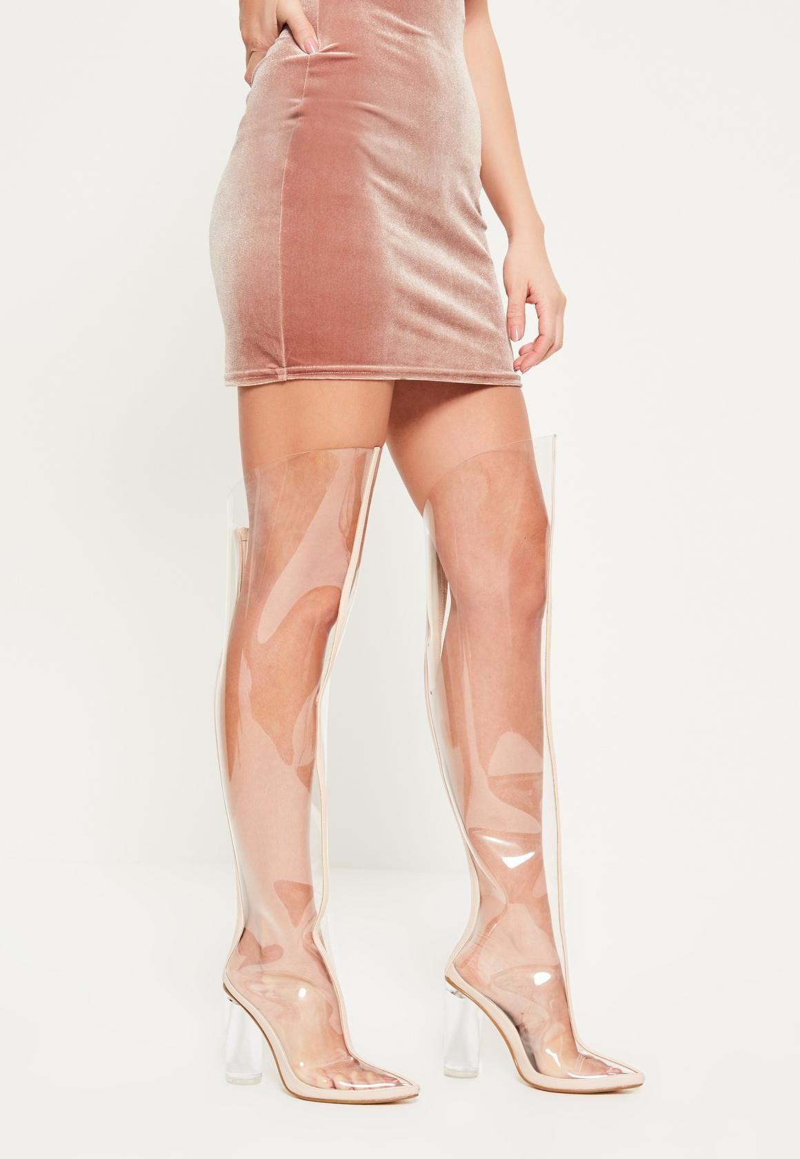 Nude Over Missguided The Knee Heeled Boots Clear 6bgyf7