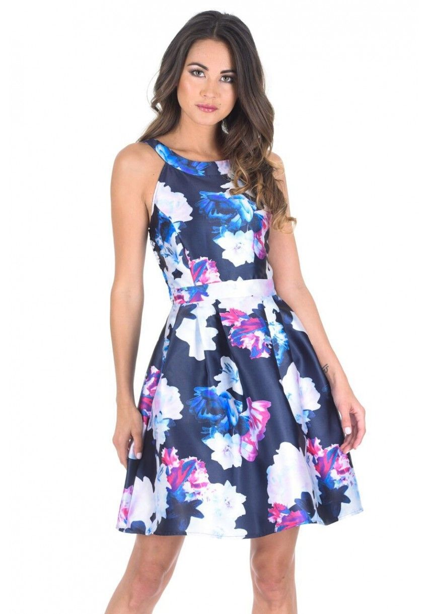 767e19b5a119 Navy Floral Printed Skater Dress With Elasticated Back