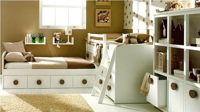 Dormitorios infantiles en blanco y beige camas - Habitaciones infantiles en blanco ...