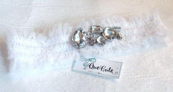 White Stretch Headband Garter Infant Headband Wedding by QueCute
