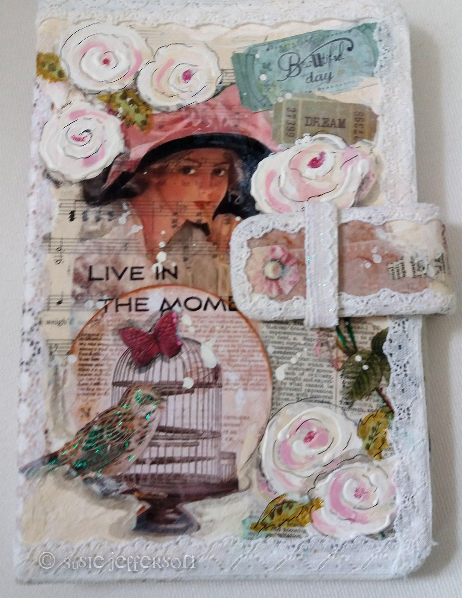 Shabby Chic Vintage Style Collaged & Handpainted Tablet Case, fits