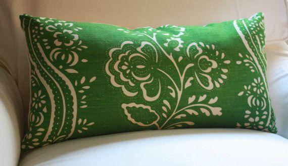 Vintage Schumacher Emerald Green Ivory French Linen by 6Wilson, $65.00