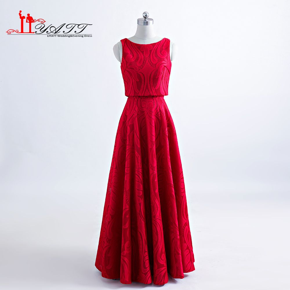 Click to buy ucuc hot new arrival red lace evening prom dresses