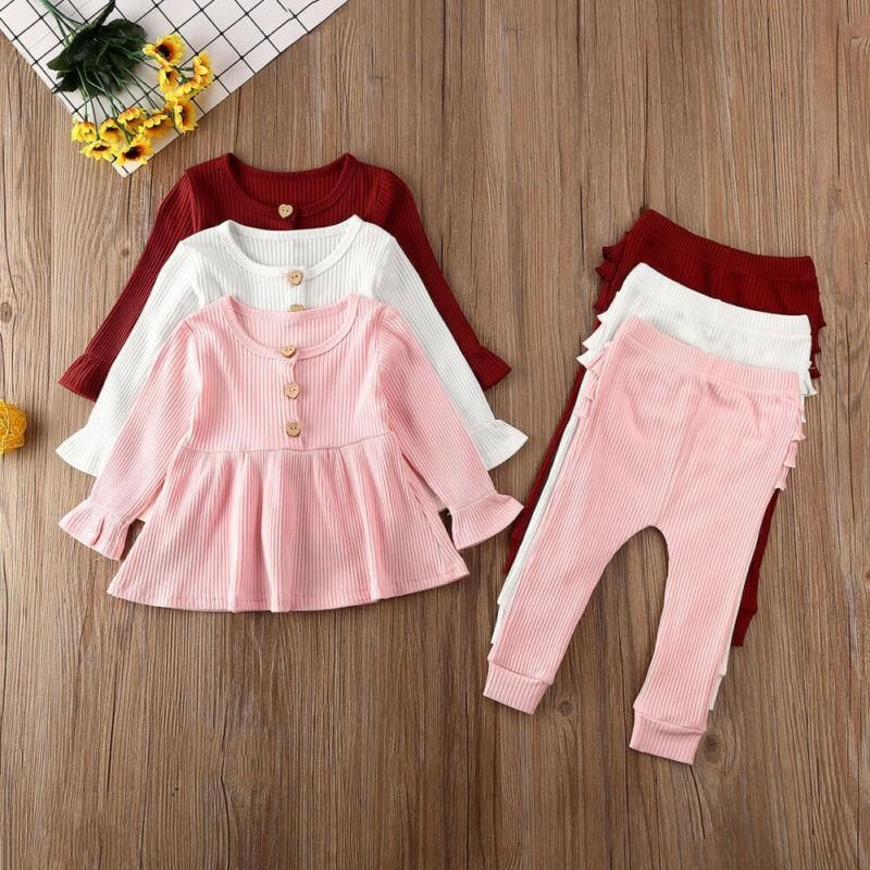 Toddler Baby Boys Ribbed Clothes Knitted Long Sleeve Shirt Top Solid Pants Outfit Set