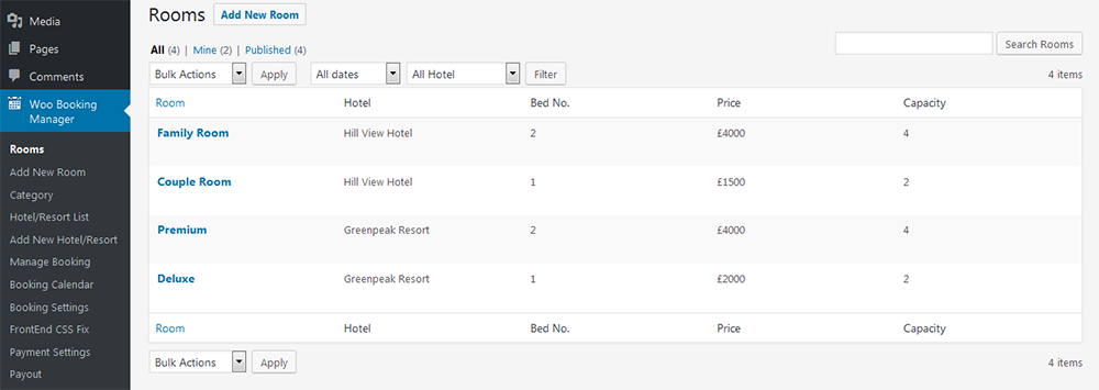 Woocommerce Hotel Reservation Booking Marketplace Hotel