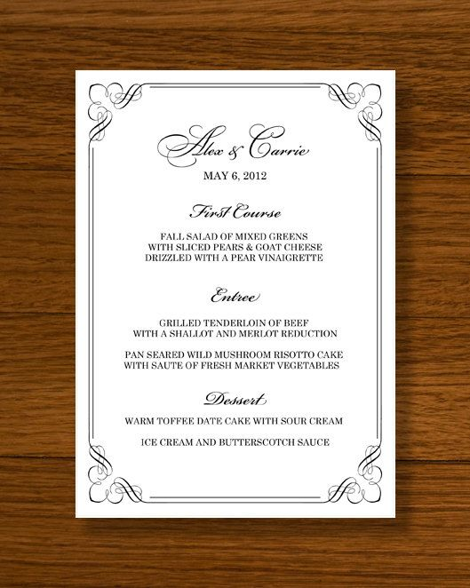 Instant Download Wedding Menu Template Forever Design By Lucy