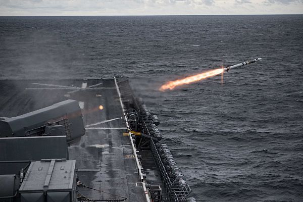 The Amphibious Assault Ship Uss Bataan Lhd 5 Conducts A Live Fire Exercise With The Ship S Rim 116 R United States Navy Weapon Systems United States Military
