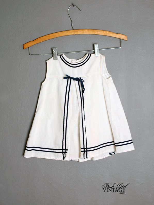 1960s Girls White & Navy Sailor Dress - love the back of this dress.