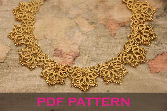 Tatting lace necklace pdf pattern by TheKimAndI on Etsy
