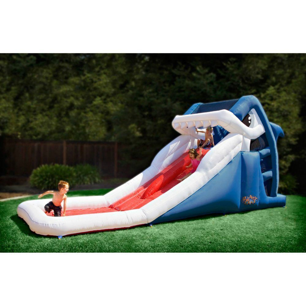 Inflatable Shark Outdoor Water Park Slide Pool Kids Party Play Set NEW