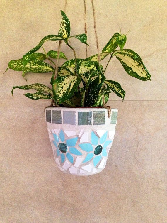 Mosaic hanging planter indoor-outdoor planter by moZEHicDesigns