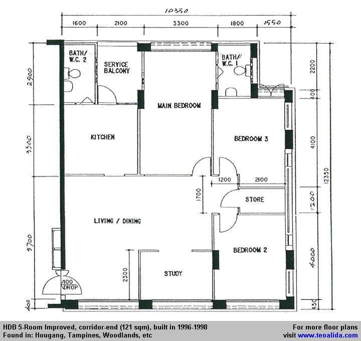 Hdb 5 Room Improved Floor Plan 121 Sqm In 2020 Floor Plans Yishun How To Plan
