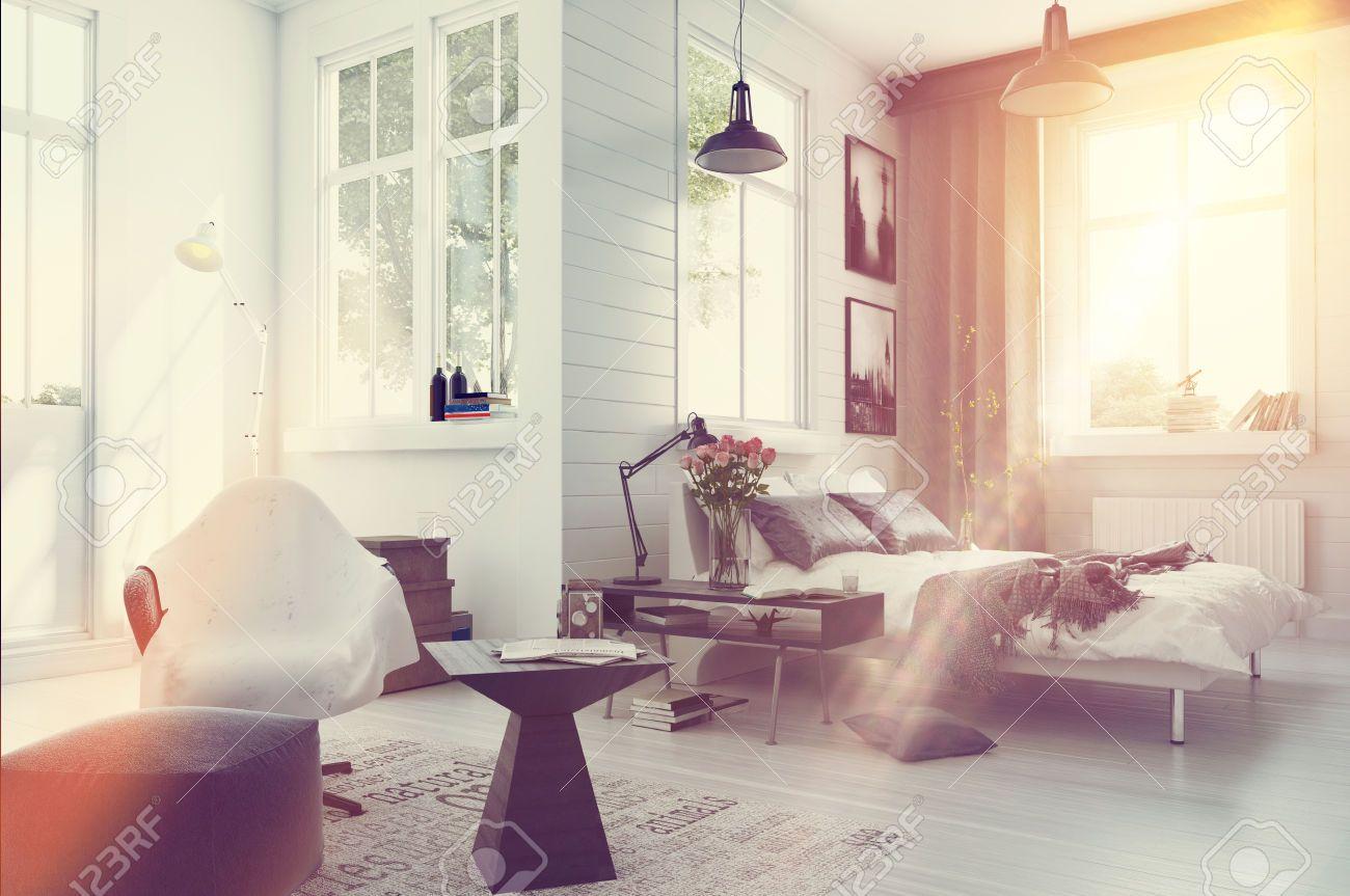 42804606-Gro-e-ger-umige-moderne-Schlafzimmer-Interieur-mit-grauen-und-wei-en-Dekor-einer-Doppelschlafcouch-b-Lizenzfreie-Bilder.jpg (1300×863)