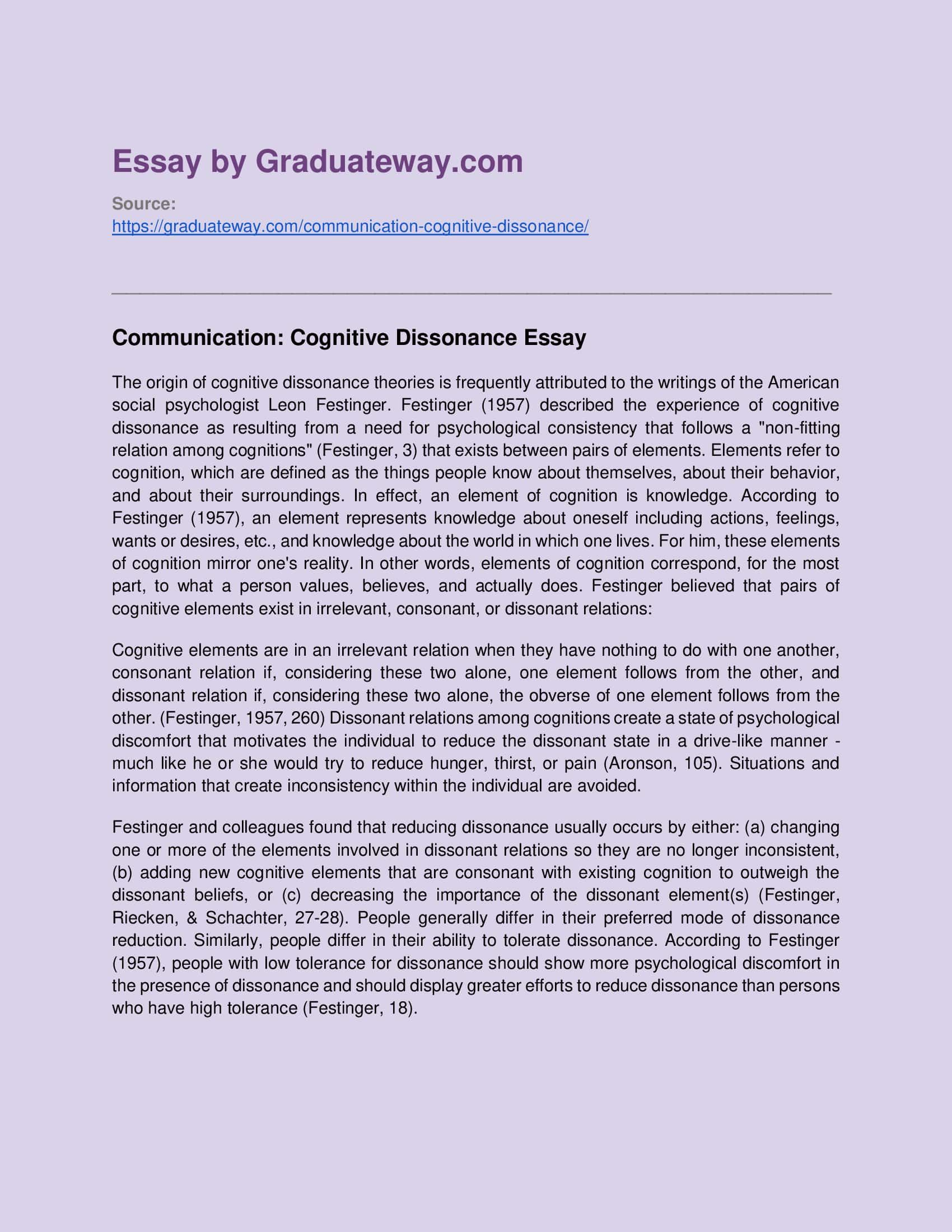 Cognitive Dissonance Example College Essay Definition Of Personal Ethic Statement