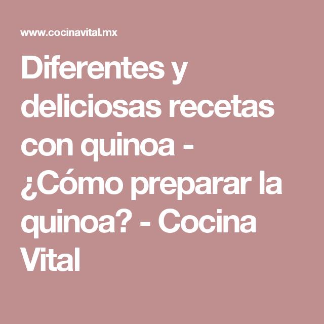 Diferentes y deliciosas recetas con quinoa - ¿Cómo preparar la quinoa? - Cocina Vital