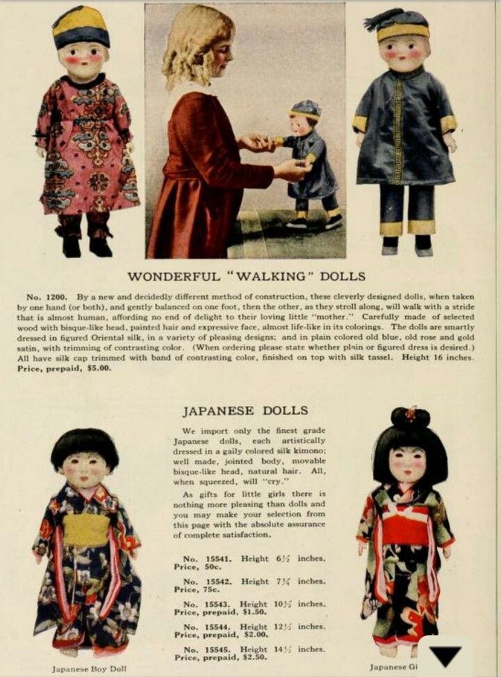 Japanese import dolls in a 1919 catalogue, Vantine's, The Oriental Store. Link: https://archive.org/stream/vantinesoriental00aava