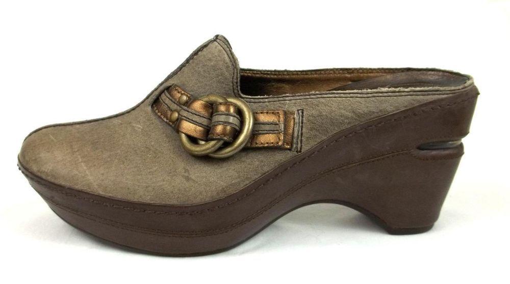 1989d3f4f8c5 Cole Haan G Series Wedge Heels Womens 7.5 AA Narrow Beige Leather Mule Shoes   ColeHaan  PlatformsandWedges