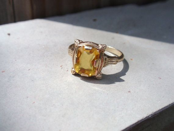 Art Deco Citrine 10k Ring Yellow Gold By Luceestreasurechest Citrine Ring Yellow Gold Rings Rings