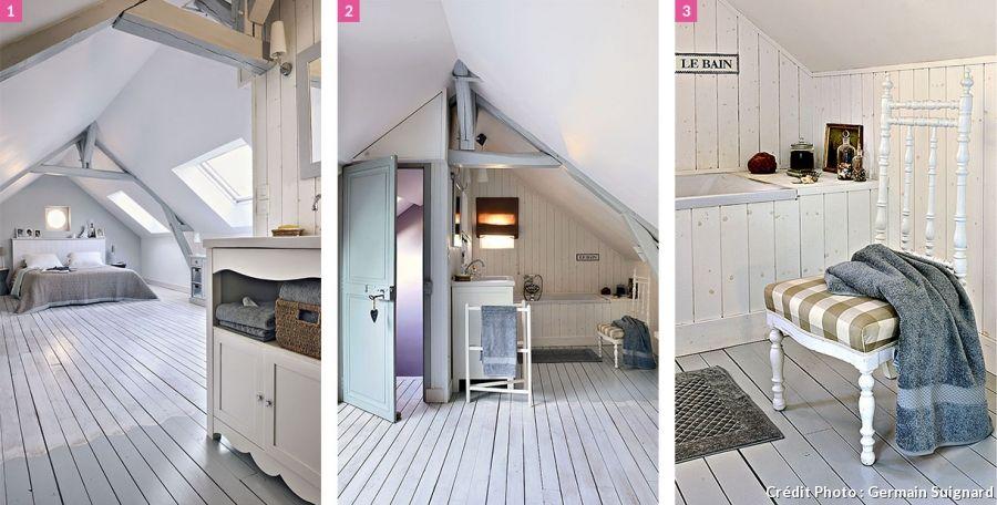 Chambre adulte sous pente avec salle de bain. et décor bois ...