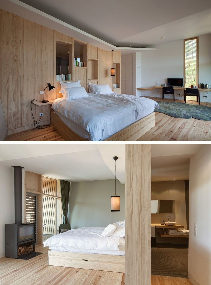 Dieses Resort-Zimmer verfügt über einfache Holzdekor und ein Holzof ...