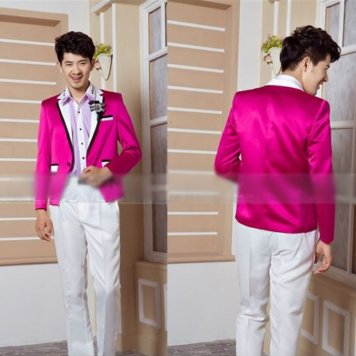 Mens Unique Pink White Prom Formal Dress Suits Tux Outfits ...