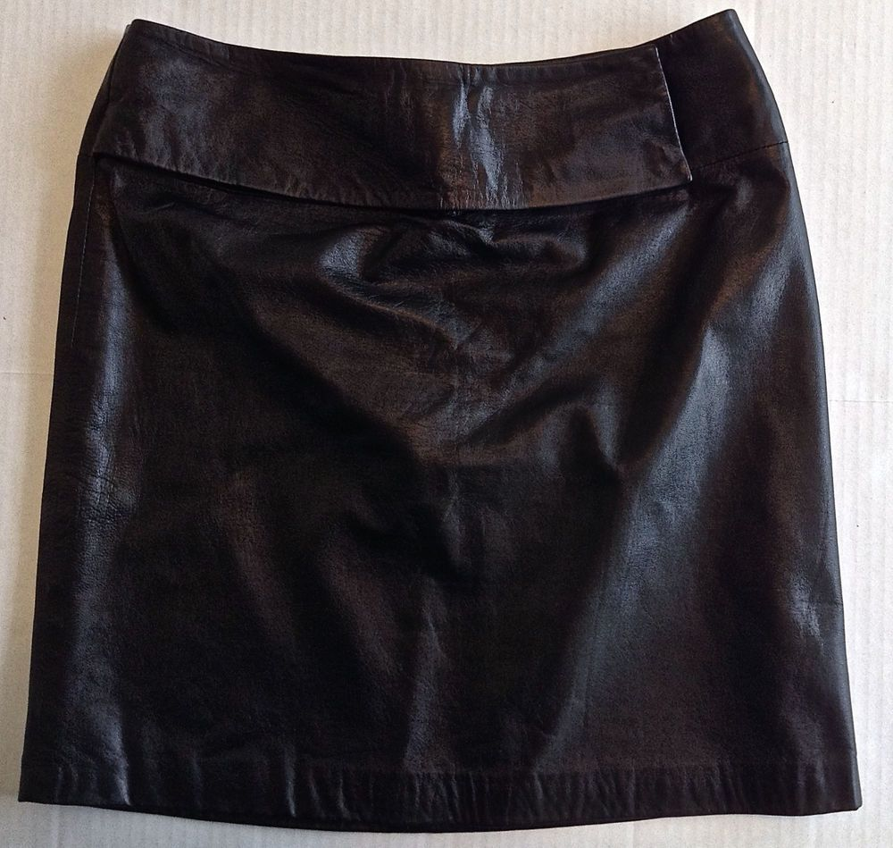 INC International Concepts Black Leather Skirt Fully Lined Size 4 ...