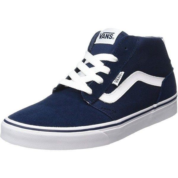Vans Men's Chapman Mid Stripe Suede Canvas Shoes Trainers Dress Blue |... (