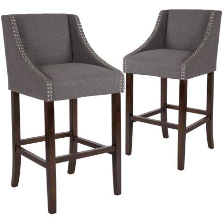 Carmel Series Flash Furniture 2 Pk 30 Inch High Transitional Walnut Barstool With Accent Nail Trim In Dark Gray Fabric Size 20 Inchw X 22 Inchd X 42 Inchh Bar Stools Stool Furniture