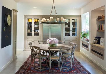 White Kitchen Cabinets And Appliances Dining Design Ideas Pictures Remodel And Decor Round Dining Room Traditional Dining Rooms 60 Inch Round Dining Table
