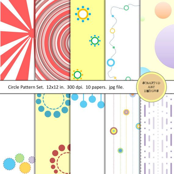 CircleThemed Digital Scrapbook Papers 10 by ScrappedArtDesigns #digitalscrapbooking #digitalpapers #circles