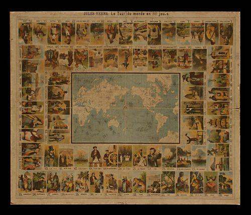 Jogo da Glória - Museu Carlos Machado. Julio Verne Volta ao Mundo em 80 dias.