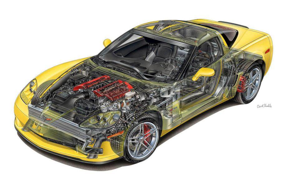 Car Engine Diagram   Corvette, Chevy corvette, Corvette art   Chevrolet Engine Cutaway Diagram      Pinterest
