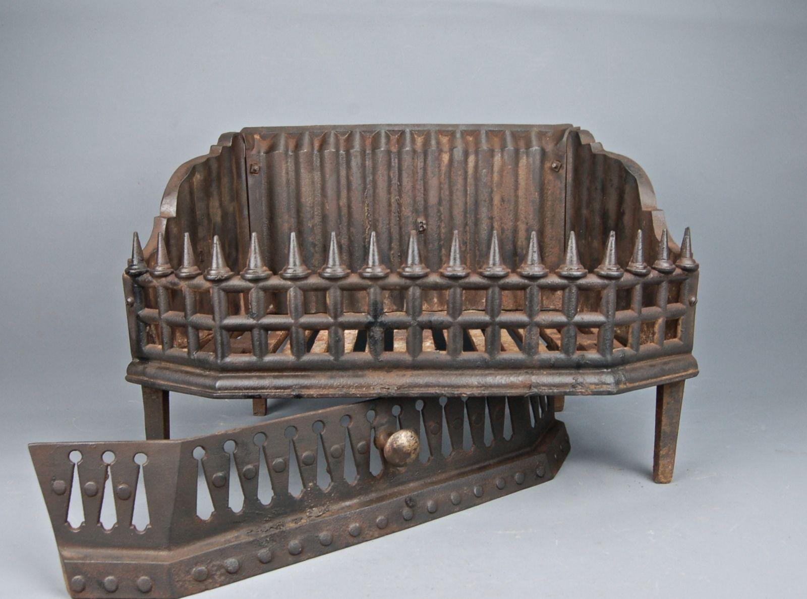 antique medieval gothic revival cast iron fireplace coal basket