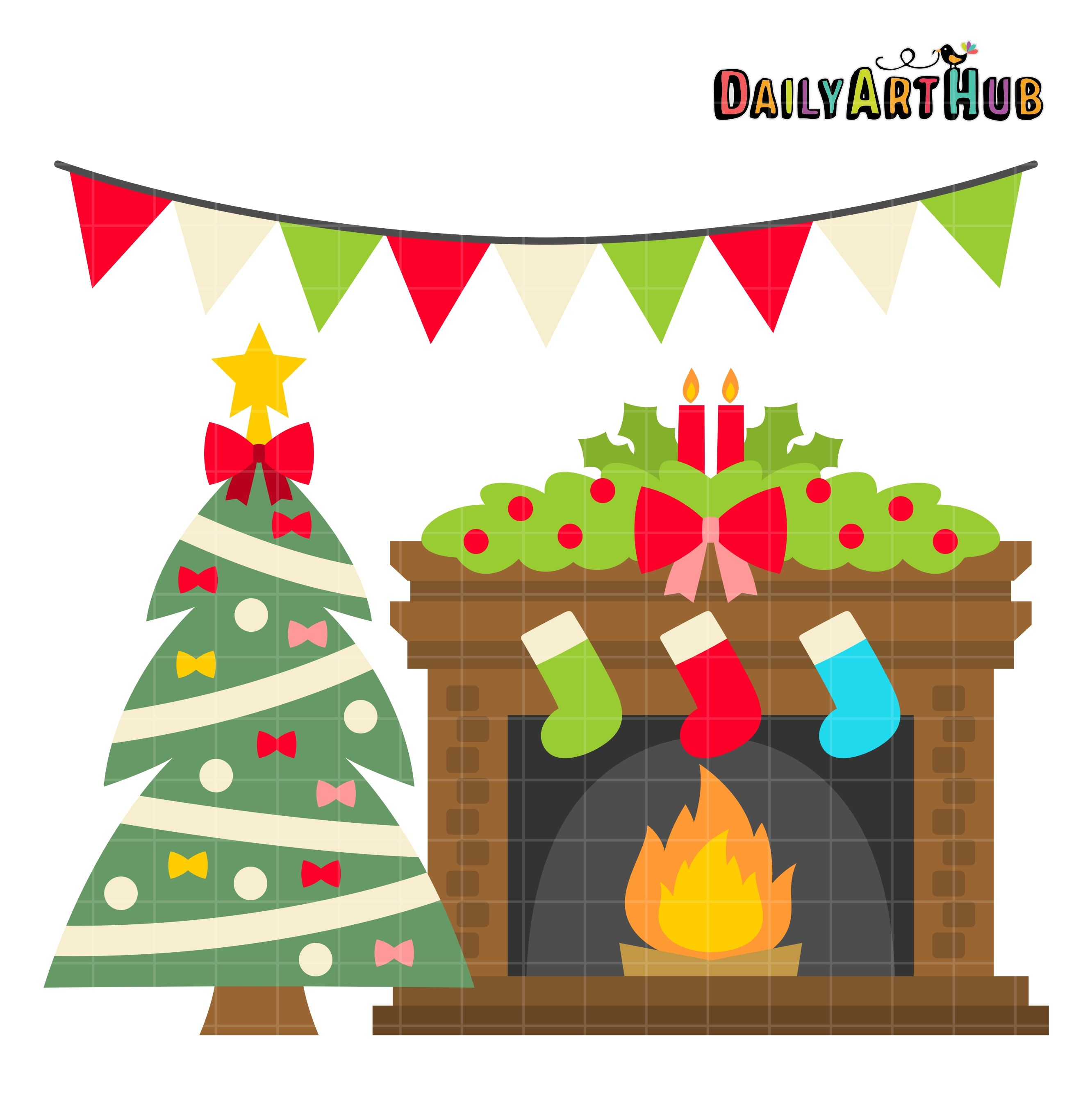 free christmas fireplace clip art set daily free art sets rh pinterest com Christmas Fireplace Clip Art Black and White christmas fireplace clipart