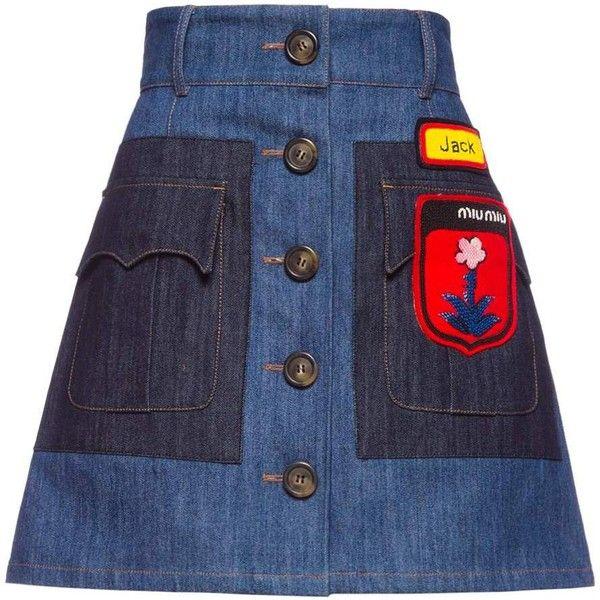 Miu Miu SKIRT ($1,050) ❤ liked on Polyvore featuring skirts, mini skirts, mini skirt, blue flared skirt, blue denim mini skirt, denim miniskirt and blue skirt