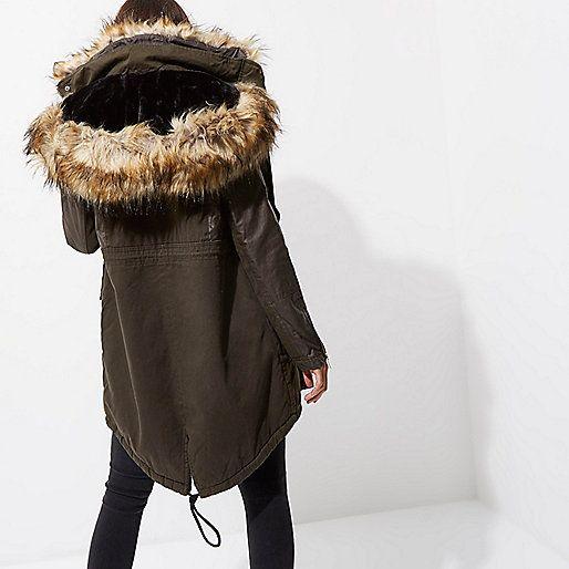 parka kaki avec capuche bord e de fausse fourrure vestes manteaux vestes femme rentr e. Black Bedroom Furniture Sets. Home Design Ideas