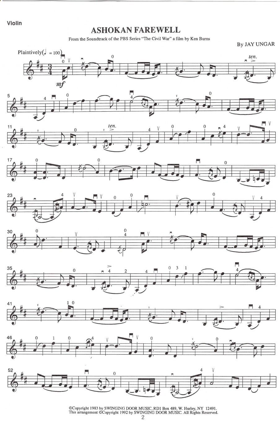 Very Slow But Really Lovely Ashokan Farewell By Jay Ungar Its Familiar If Youve Seen The Ken Bur Violin Sheet Music Ashokan Farewell Sheet Music Sheet Music