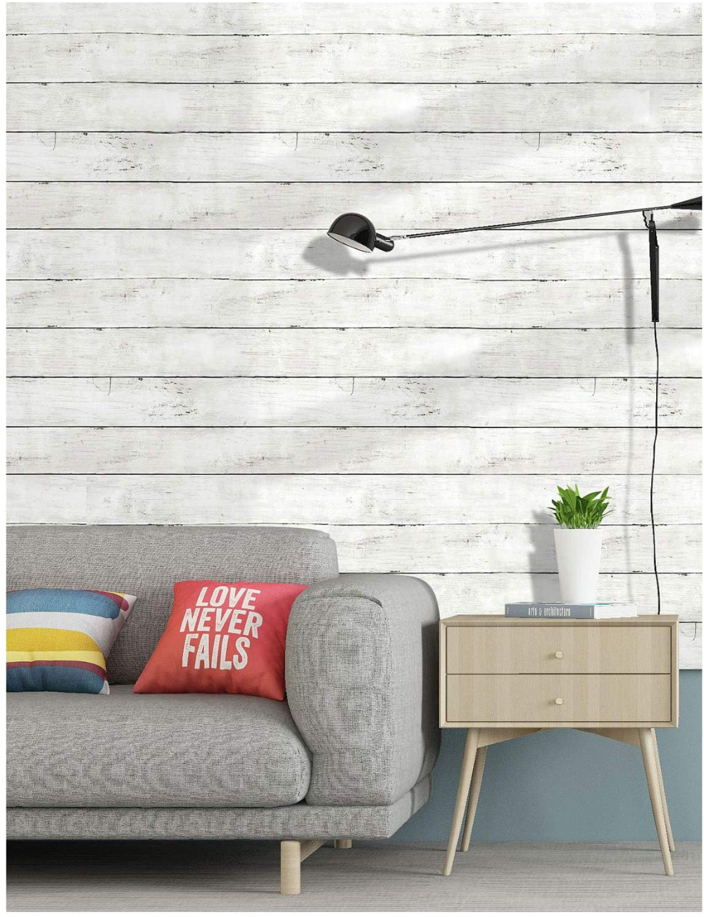 HaokHome 5030 Faux Distressed Wood Plank Peel and Stick