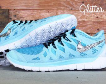 detailed look 705dd cf71e Glacier Ice Blue Nike Free Run 5.0 Glitter Kicks Running ...