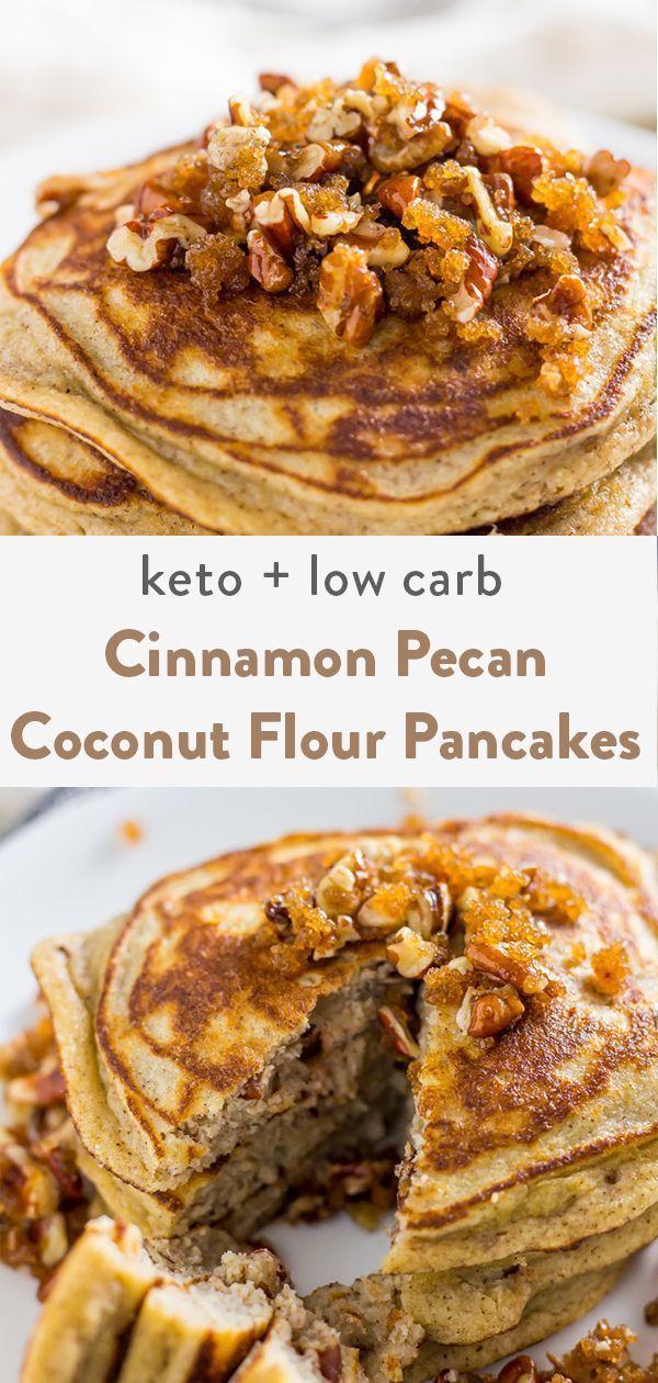 Keto Cinnamon Pecan Coconut Flour Pancakes (Keto, Low Carb, Gluten Free, Dairy Free)