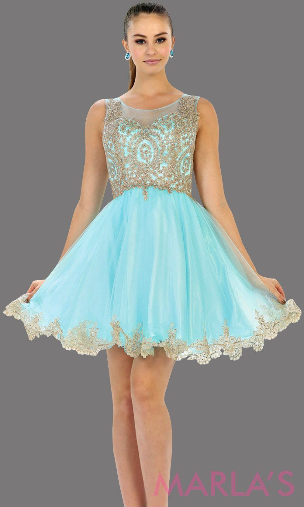 5030bf12f7386 Short aqua high neck grade 8 grad puffy dress with gold lace. This light  blue grade 8 graduation short dress and pretty. Can be worn for quinceanera  damas, ...