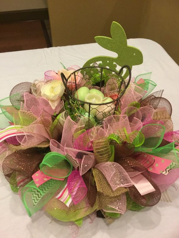 Ready To Ship Easter Bunny Centerpiece , Deco Mesh Easter Centerpiece , Easter  Bunny Candle Ring , Table Wreath
