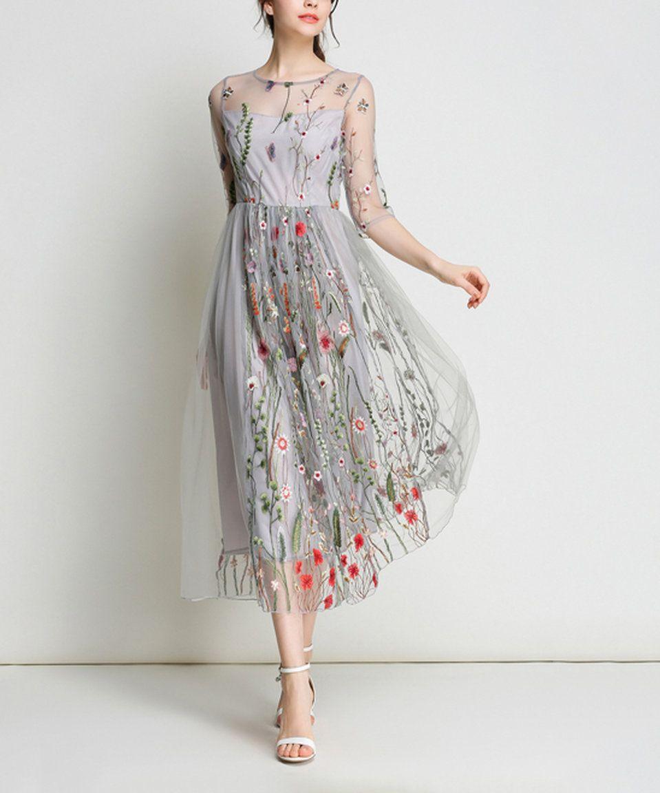 f36efbf30da Take a look at this Coeur de Vague Gray Floral Sheer-Overlay Midi Dress  today!