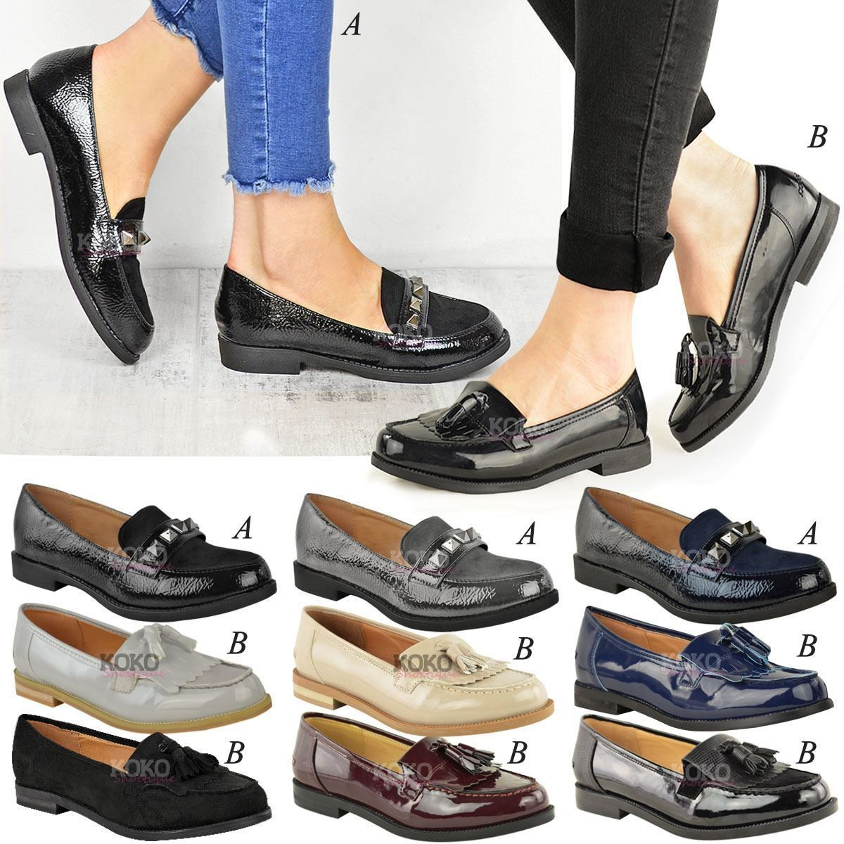 Women/'s Ladies Loafers Brogues Pumps Casual School Office Comfy Work Flat Boots
