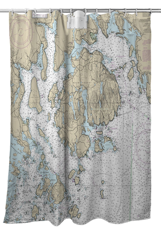 ME Mount Desert Island Bar Harbor Cranberry Islands Nautical Chart Shower