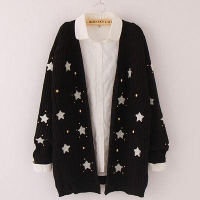 Sweet cute star knit sweater coat from Women Fashion