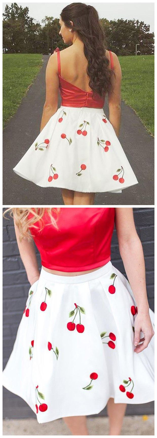 Two piece round neck red floral homecoming dresses party dresses